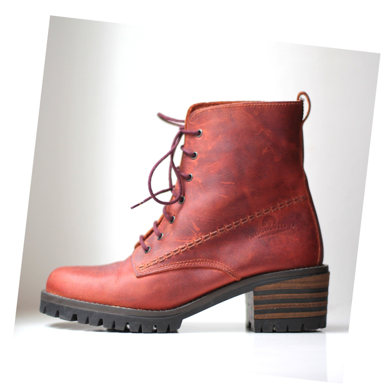 6 orange lace up ankle boots hiking boot chunky heel