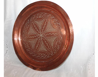 Vintage hand engraved copper wall plaque