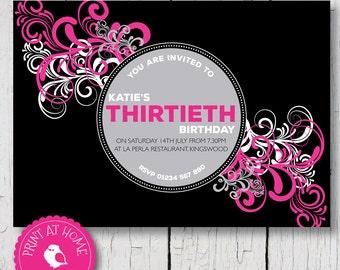 Birthday invitation 21st 30th 40th 50th 60th, Big Birthday, Pink and black, funky, Printable digital file