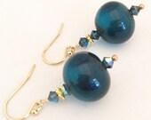 Dark Blue Glass Earrings - Blue Lampwork Glass Earrings - Blue Gold Earrings - Blue Swarovski Earrings - Dark Blue Crystal Earrings
