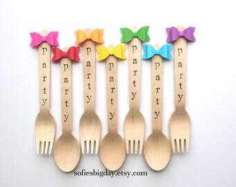 RainBow Forks-35 Bow forks-bow spoons-Rainbow party forks-rainbow party spoons-custom utensils-Rainbow Bow forks-Rainbow bow spoons-35