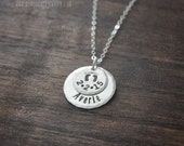 Baby Footprint Charm Necklace Personalized Birthdate and Child Name Sterling Silver Jewelry