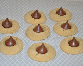 12 Peanut Butter Blossoms Chocolate Thumbprint Hershey's Kisses, Cookies Perfect Edible Gift !