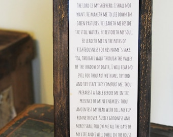 "Rustic Wood Decor Sign - Bible Verse Quote - Customizable - Psalm 23 ""I will fear no evil"" sign"