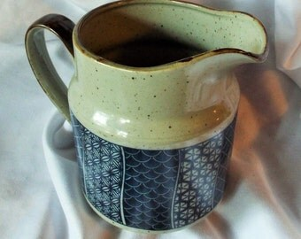 Stoneware Pitcher with Asian Blue Pattern JAPAN