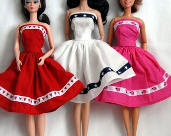 Barbie Clothes Tailor Made by Tunafairy - Ribbon Trimmed Sundress for Barbie or Similar