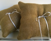 SET OF 2 -  Linen Burlap Ring Bearer Pillow