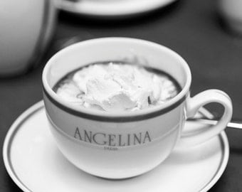 Paris Photograph, Hot Chocolate at Angelina, Black and White, Large Wall Art, French Kitchen Decor, Travel Photograph