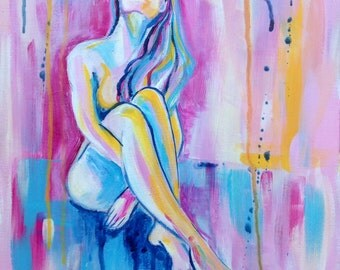 Abstract Figurative - 'Call Me' - acrylic painting on canvas - size 40cm x 30cm