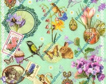 Decoupage napkins, bird napkins, birds napkins, fairies napkins, fairy napkins, fairy decoupage paper, butterly, bird napkins, cup cake