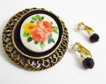 Vintage Limoges Painted Cameo Brooch & Black Glass Earrings