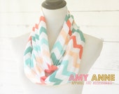 SALE Chevron Multi Color Aqua Coral Light Peach Coral Zig Zag Jersey Knit Womens Adult Pre-Teen Infinity Scarf Scarves Amy Anne