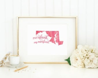 """Maryland State Watercolor Art Print - """"Maryland, My Maryland"""" - Mirabelle Creations"""