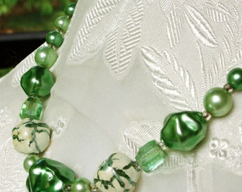 Antique Green and White Beaded Necklace Signed Japan