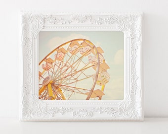 Ferris Wheel Carnival Photography Art 11x14 - INSTANT DOWNLOAD - digital file pastel whimsical fair fine art download pink blue turquoise