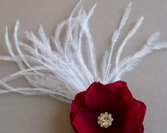 Red Bridal Flower Hair Clip, Red Wedding Fascinator, Red Bridal Flower, Velvet Hydrangea Hairpiece, Feather Headpiece - SCARLETT