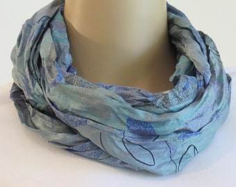 Silk Infinity Scarf, Blue Scarf, Summer Scarf, Paisley Scarf