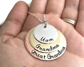 Mom Grandma Great Grandma Layered Mixed Metal Mother Keepsake Custom- Hand Stamped Jewelry - Personalized Jewelry