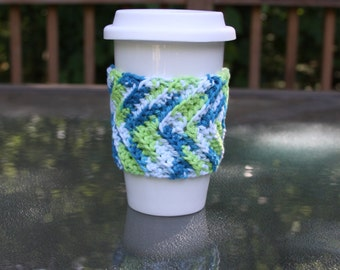 Chevron Cup Cozy in Poolside - Ready to Ship