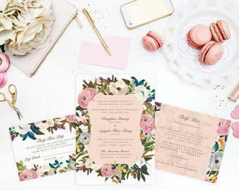 Vietnamese Wedding Invitation, Reception And RSVP   Do It Yourself    Romantic Floral