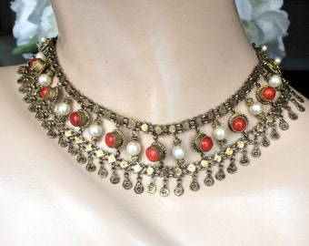 Natural Coral, Cultured Pearls, Mediterranean Coral, Gold Washed Silver, Vintage Fringe Necklace, Italian Red Coral