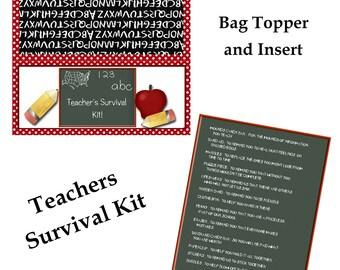 Digital Printable Teacher's Survival Kit Bag Topper and Insert