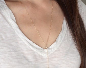 Gold Y Lariat Drop FEATHER Necklace