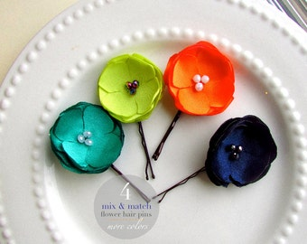 PICK 4 Small Satin Flower Hair Pins, Small Floral Hair Clips, Assorted Flower Bobby Pin Set, Girls Hair Flowers, Dance Costume Hair Clips