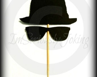 12 Blues Bros Cupcake Toppers- The Artist- Little Man Party- Sunglasses- Blues Brothers- Cupcake decorations- Mustache party