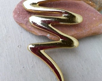 Vintage Gold Tone Squiggle Lightning Bolt Pin Brooch Jewelry Jewellery, vintage gold tone abstract modernist zig zag squiggle pin brooch