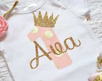 Pink and Gold Birthday shirt, Personalized Birthday shirt, Birthday outfit, Baby First Birthday Shirt, 1st Birthday outfit, Pink Mint Gold