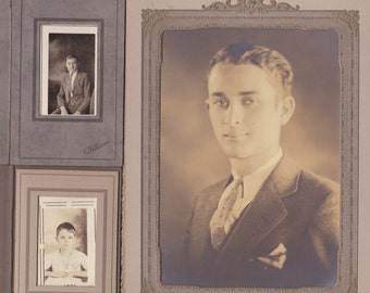 1930s Young Men - Lot of 3 Antique Photographs