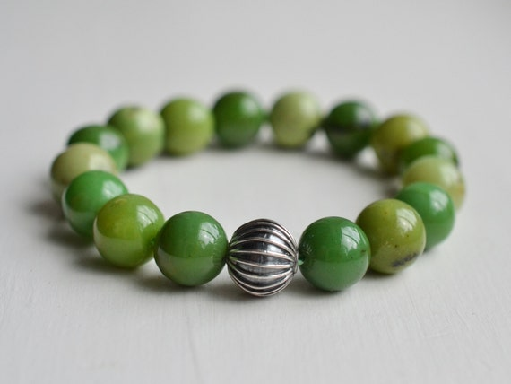 10mm Chrysoprase Bracelet, Gemstone Bracelet, Green Beaded Bracelet, Womens Mens Bracelet, Sterling Silver Bracelet, Luxury Gifts