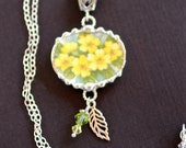 Necklace, Broken China Jewelry, Broken China Necklace, Oval Pendant, Yellow Flowers, Sterling Silver Leaf Charm, Soldered Jewelry