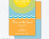 "Beach Party Invitation Printable ""Summer Sun"""