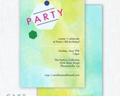 Modern Art Party Water Color Invitation Printable
