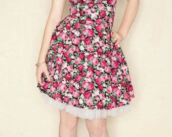Pink Floral Rockabilly dress- Pin up, 50's style-SALE