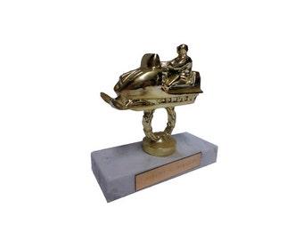 Vintage Snowmobile Trophy 1970s Snow Machine Racing Award Winter Sports