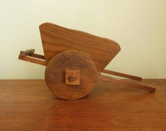 Wood Cart Wooden Decorative Handmade Shabby Wheelbarrow to Display or Repurpose