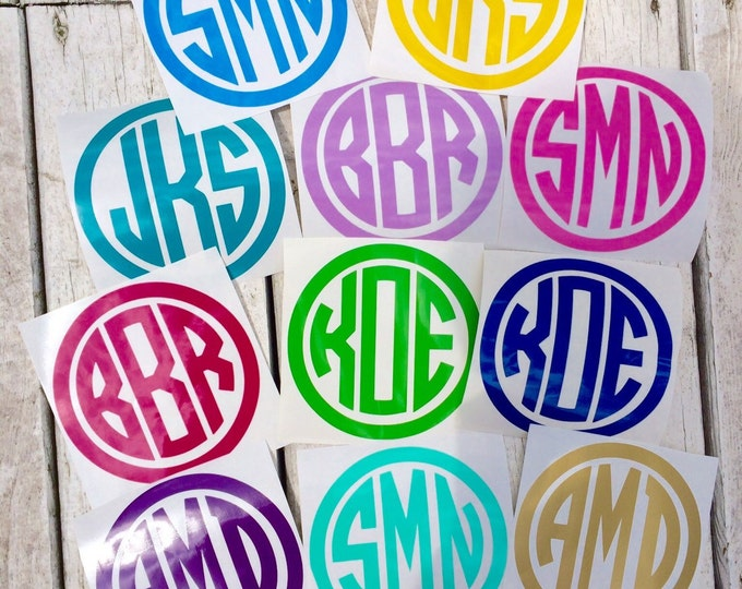 Circle Monogram Decal Small Monogram Decal Vinyl Decal Car Decal Notebook Binder Folder Decal School Teen Monogram Decal Personalized Decal