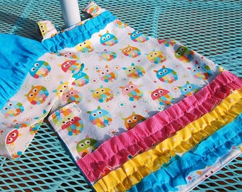 Toddler Apron and Chef Hat Montessori style apron.Owls.Girly apron Pink. Aqua .Yellow. Cotton. Ages 3-5.Girl Birthday