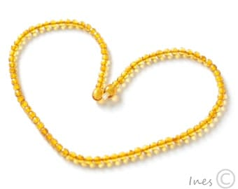 Baltic Amber Faceted Honey Color Necklace. Tiny Faceted Round Amber Beads