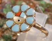 Native American Sterling Turquoise Ring signed Michael Rogers