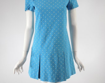 60s Blue Cotton Scooter Dress Tiny Floral Mini - sm