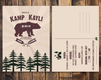 Camping Invitation, Party Party, Camping Postcard, Camp Out Birthday Party Invitation, Bear Invitation, Girl Scout Birthday, Parent Trap