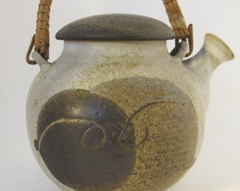 VIntage 80's Japanese stoneware teapot with wicker handle