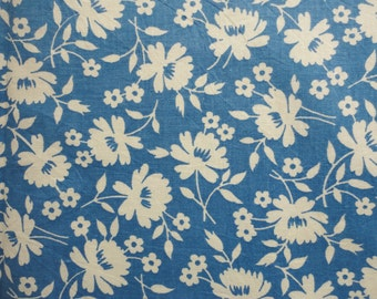 blue and off white floral print vintage full feedsack fabric