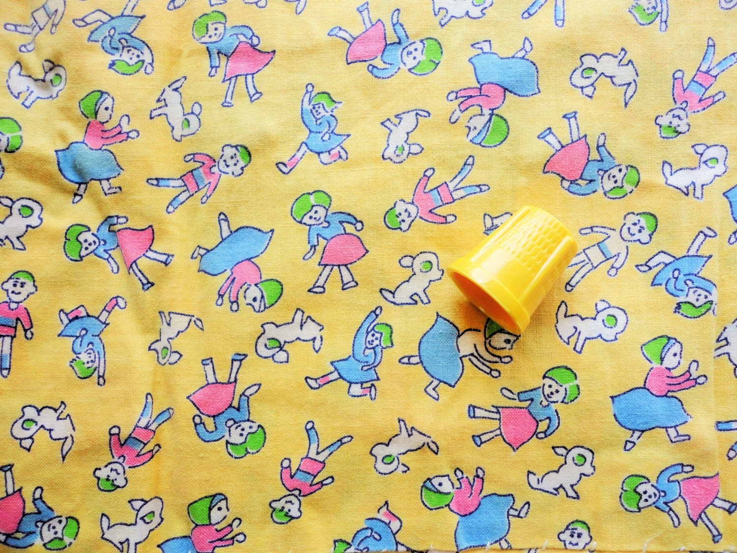 Boys and girls at play juvenile print vintage cotton fabric for Boys cotton fabric