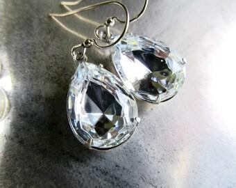 Art Deco Earrings Art Nouveau Earrings 1920s Earrings Sterling Earrings Crystal Earrings Gatsby Earrings Teardrop Earrings- Crystal Diamonds