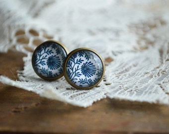 BLUE CHINA  floral print Earring studs Glass Posts faux gauges